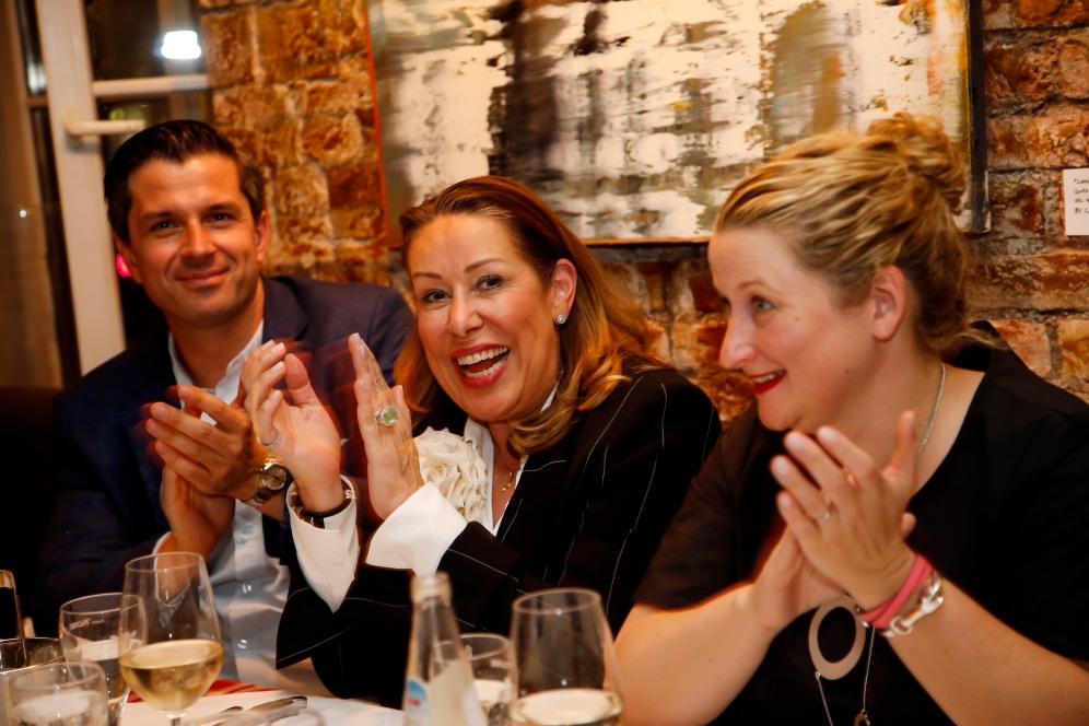 Jonas Grashey, Martina Buckenmaier, Elfi LangefeldModeMedienAbend / Fashion Meets Meat im Restaurant Zum Goldenen Kalb in München am 19.04.2018.Agency People Image (c) Jessica Kassner