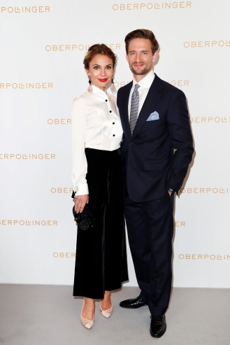 MUNICH, GERMANY - SEPTEMBER 12: Nadine Warmuth and August Wittgenstein during the grand opening of the new Oberpollinger ground floor 'Muenchens Neue Prachtmeile' at Oberpollinger on September 12, 2018 in Munich, Germany. (Photo by Franziska Krug/Getty Images for Oberpollinger)