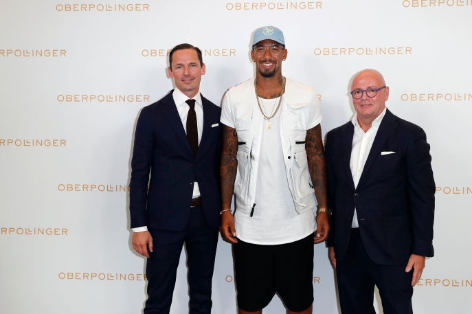 MUNICH, GERMANY - SEPTEMBER 12: Alexander Repp, Jerome Boateng and Andre Maeder during the grand opening of the new Oberpollinger ground floor 'Muenchens Neue Prachtmeile' at Oberpollinger on September 12, 2018 in Munich, Germany. (Photo by Franziska Krug/Getty Images for Oberpollinger)