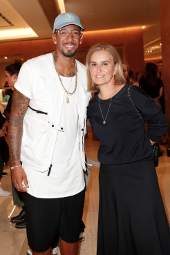 MUNICH, GERMANY - SEPTEMBER 12: Jerome Boateng and Petra Fladenhofer during the grand opening of the new Oberpollinger ground floor 'Muenchens Neue Prachtmeile' at Oberpollinger on September 12, 2018 in Munich, Germany. (Photo by Franziska Krug/Getty Images for Oberpollinger)