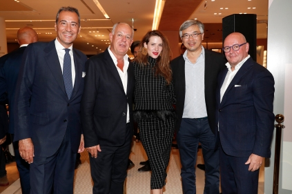 MUNICH, GERMANY - SEPTEMBER 12: Stefano Della Valle, Vittorio Radice, Julia Malik, Tos Chirathivat and Andre Maeder during the grand opening of the new Oberpollinger ground floor 'Muenchens Neue Prachtmeile' at Oberpollinger on September 12, 2018 in Munich, Germany. (Photo by Franziska Krug/Getty Images for Oberpollinger)