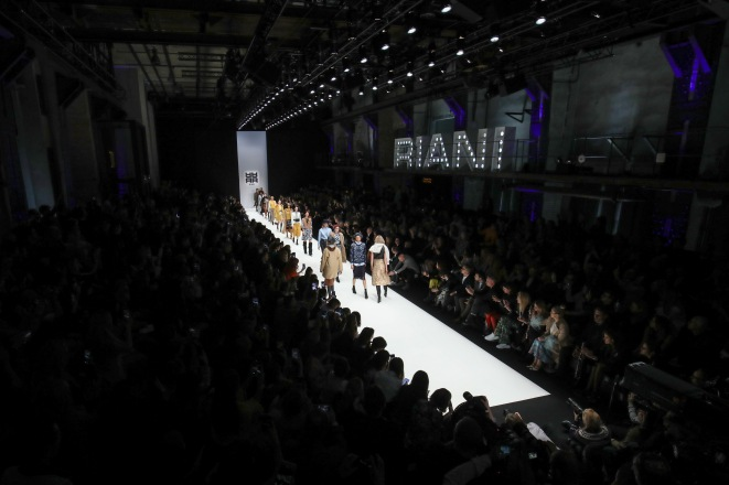 BERLIN, GERMANY - JANUARY 16: A model walks the runway at the Riani show during the Berlin Fashion Week Autumn/Winter 2019 at ewerk on January 16, 2019 in Berlin, Germany. (Photo by John Phillips/Getty Images for Riani)