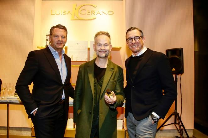 Markus Höhn, Geza Schön, Jürgen Leuthe (Geschäftsführer Luisa Cerano) Luisa Cerano Duftpräsentation in München am 14.03.2019. Agency People Image (c) Jessica Kassner